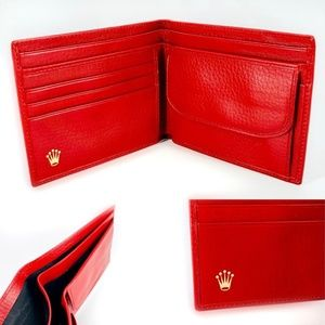 NEW Authentic Rolex Bi-Fold Wallet In Cherry Red
